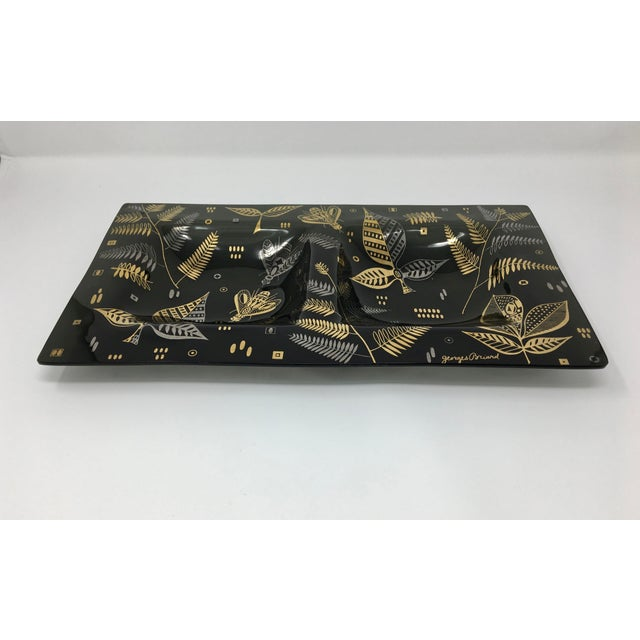 Modern Midcentury Modern Georges Briard Black, Silver and Gold Glass Double Serving Dish For Sale - Image 3 of 8