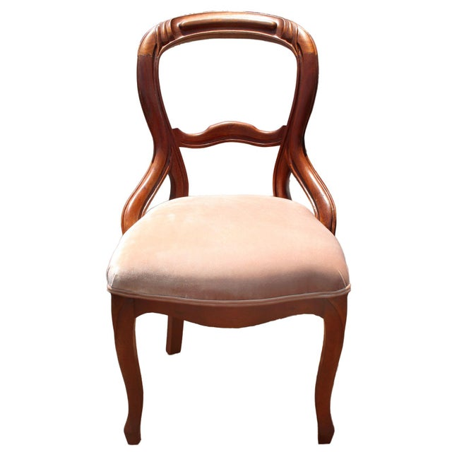 Museum quality solid mahogany balloon back Queen Anne chair with cabriole legs circa 1900 has been newly reupholstered in...