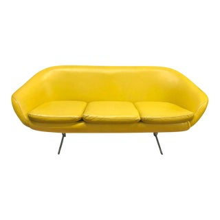 Midcentury Banana Yellow Vinyl Sofa Couch