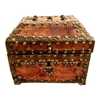 19th Century Gothic Style Leather and Brass Studded Casket For Sale