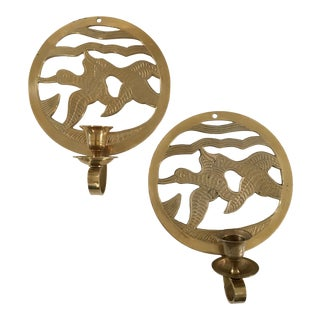 "Mid Century Brass ""Ducks in Flight"" Candle Sconces - a Pair For Sale"