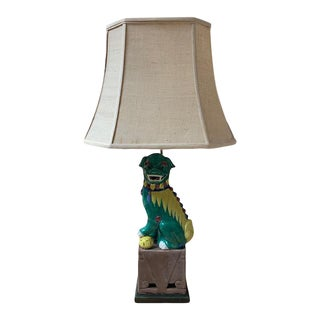Vintage Foo Dog Lamp With Shade For Sale