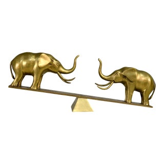 1986 Trunk Up Solid Brass Lucky Elephants on a Seesaw by Dolbi Cashier For Sale