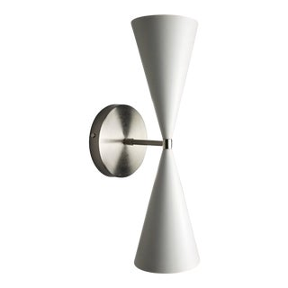 Satin Nickel + White Enamel 'Tuxedo' Wall Sconce by Blueprint Lighting Nyc For Sale