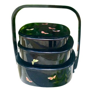 Vintage Hanea Mori Black Lacquered Stackable Containers With Carrying Handle For Sale