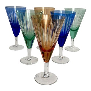1960s Multicolor Cut Glass Wine Glasses - Set of 6 For Sale
