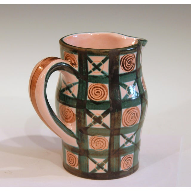 Vintage 1960s Robert Picault French Studio Pottery Geometric Pitcher For Sale - Image 4 of 7