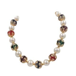 Circa 1990 Napier Faux-Pearl & Rhinestone Necklace For Sale