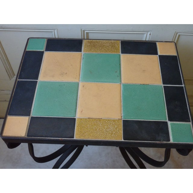 Mid-Century Modern Mid-Century Wrought Iron & Tile Side Table For Sale - Image 3 of 3