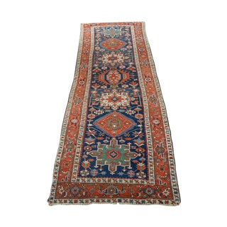 Caucasian Kazak Tribal Design Runner Rug For Sale