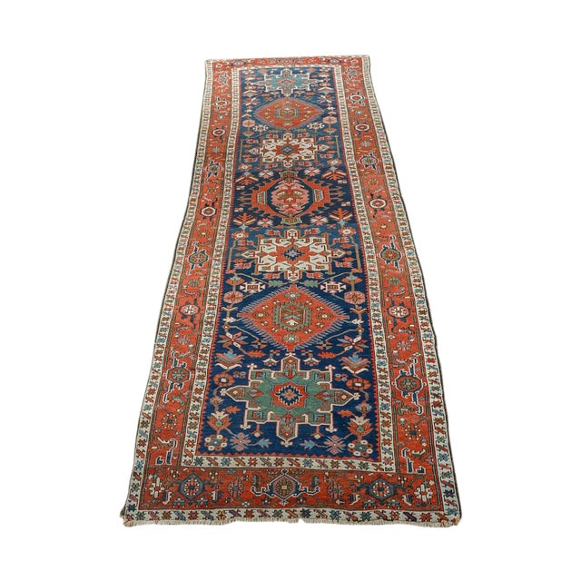 Caucasian Kazak Tribal Design Runner Rug - 4′ × 12′11″ For Sale