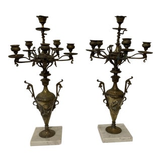 Late 19th Century French Art Nouveau Bronze Candelabra - a Pair For Sale