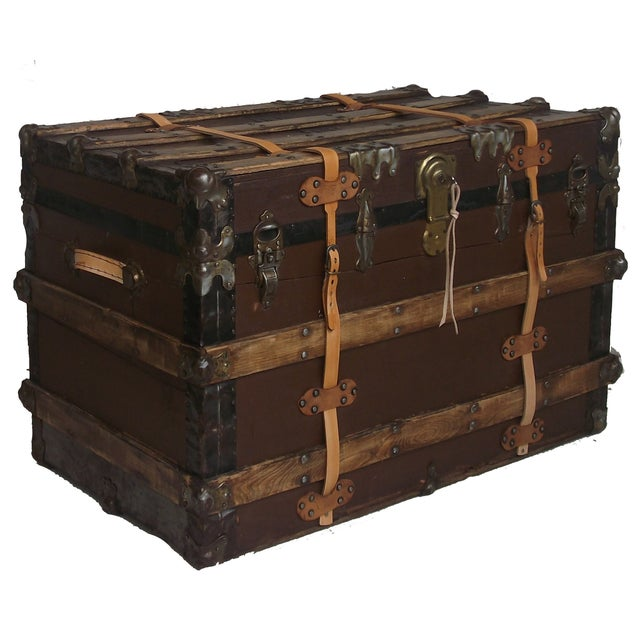 Antique Wood & Leather Trunk - Image 1 of 3
