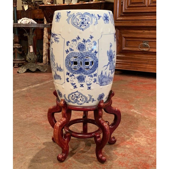 White Mid-20th Century Chinese Porcelain Garden Stool on Carved Stand For Sale - Image 8 of 8