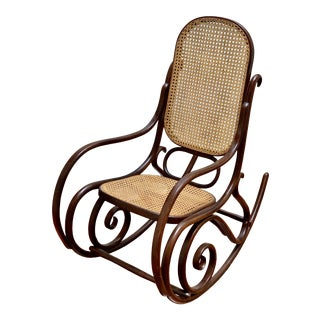 Iconic Bentwood Cane Tho Et Style Rocking Chair For Sale