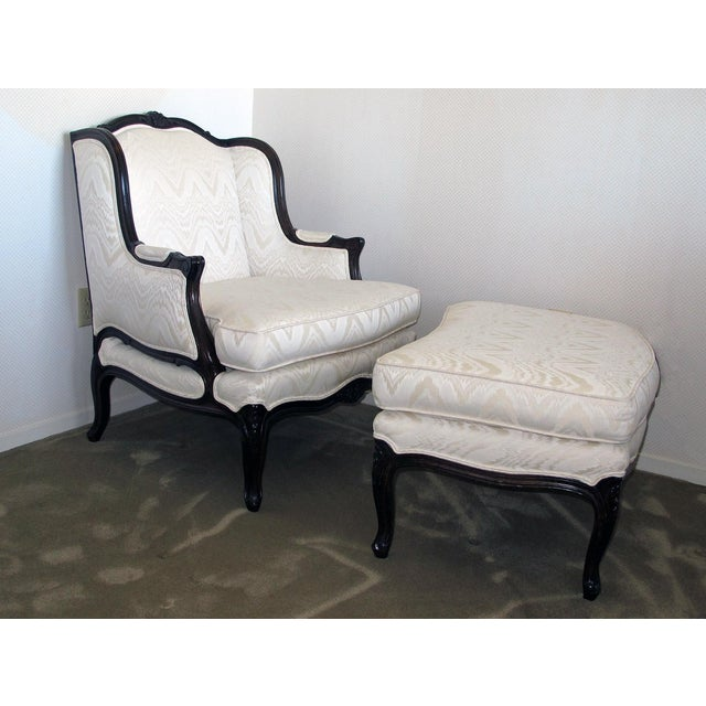 Bergere Chair & Ottoman in Off-White Damask - Image 3 of 6