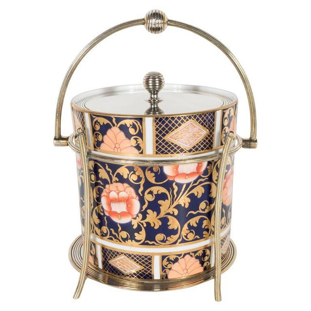 Antique English Biscuit Holder in Porcelain and Silver Plate by Spode For Sale - Image 11 of 11