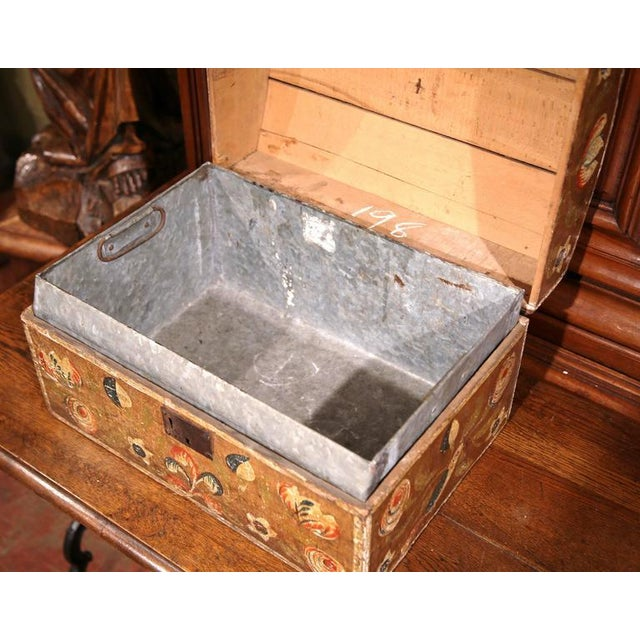 18th Century French Painted Bird Motif Trunk - Image 4 of 8