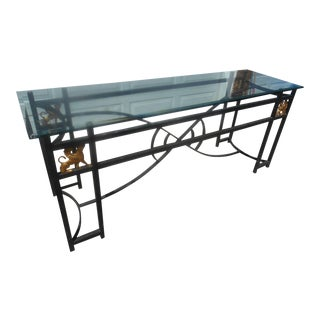 Egyptian Revival Glass & Aluminum Art Deco Console Table For Sale
