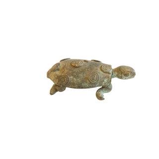 Vintage African Dark Oxidized Circle Back Design Turtle For Sale