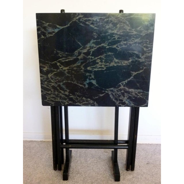 Mid-Century Faux Granite Folding Tables - A Pair - Image 3 of 6