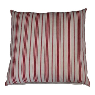 Red and White Striped Ticking Pillow For Sale