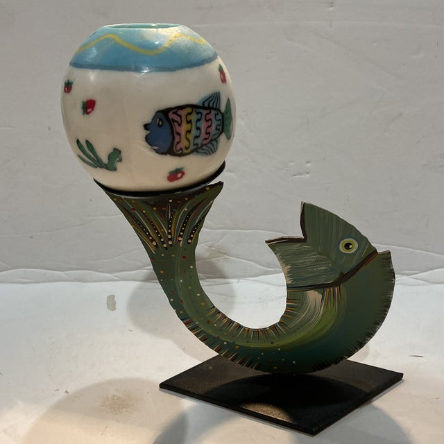 Robert Shields Folk Art Metal Fish Candle Holder For Sale - Image 11 of 13
