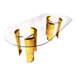 Milo Baughman Style Brass & Lucite Trefoil Table