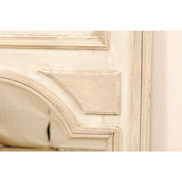 Wood Tall French 19th Century Painted Wood Trumeau Mirror For Sale - Image 7 of 10