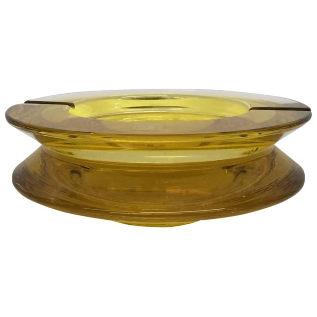 Seguso Yellow Tinted Glass Ashtray For Sale