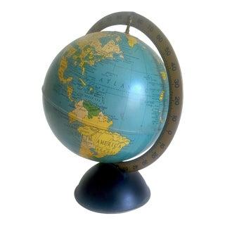 Vintage Mid Century 1950's Replogle Desktop Metal Stand Base Rotating World Globe For Sale
