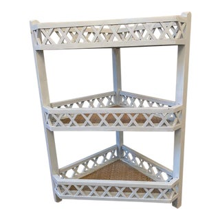 Shabby Chic Corner Lattice Shelf/Plant Stand With Rattan Lining For Sale