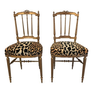 Gold Gilt Italian Carved Wood Accent Chairs with Leopard Upholstery - A Pair