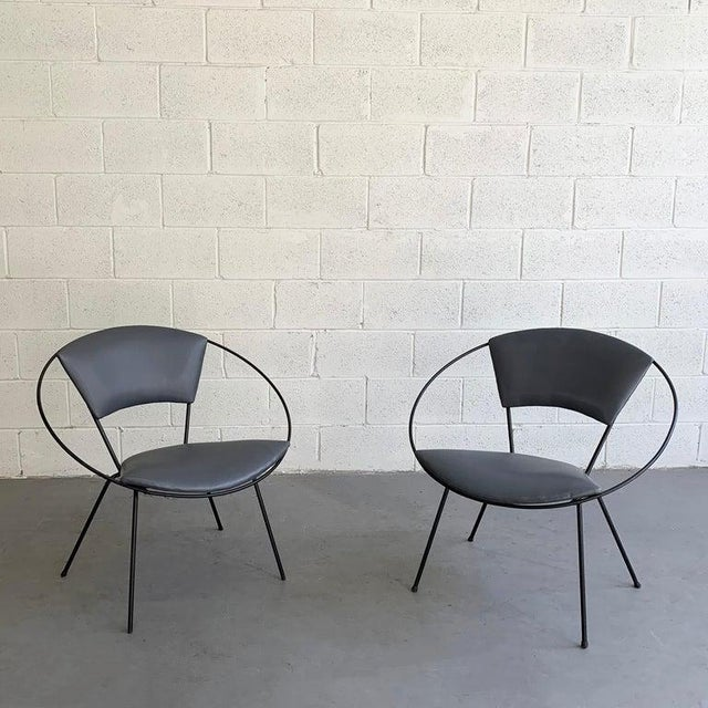 Mid Century Modern Wrought Iron Upholstered Hoop Chairs- A Pair For Sale - Image 4 of 8