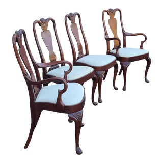 Set 4 Hickory Chair Co Mahogany Queen Anne Style Dining Room Chairs C1990s For Sale