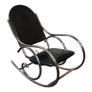 Emile Guyot Mid-Century Modern Chrome Plated Steel Rocking Chair For Sale