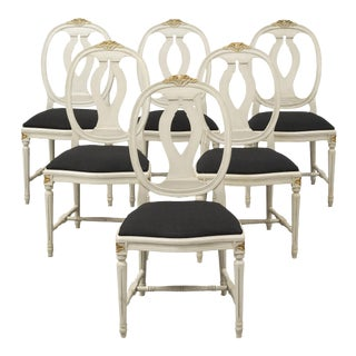 1970s Vintage Gustavian Rose Chairs - Set of 6 For Sale