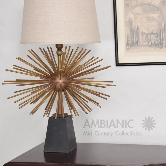 Pair of Mid-Century Mexican Modernist Pani Starburst Brass Table Lamps - Image 7 of 10