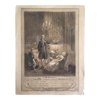 "Antique 1774 Freudenberger "" La Soiree D' Hyver "" Hand Painted French Engraving Art Print"