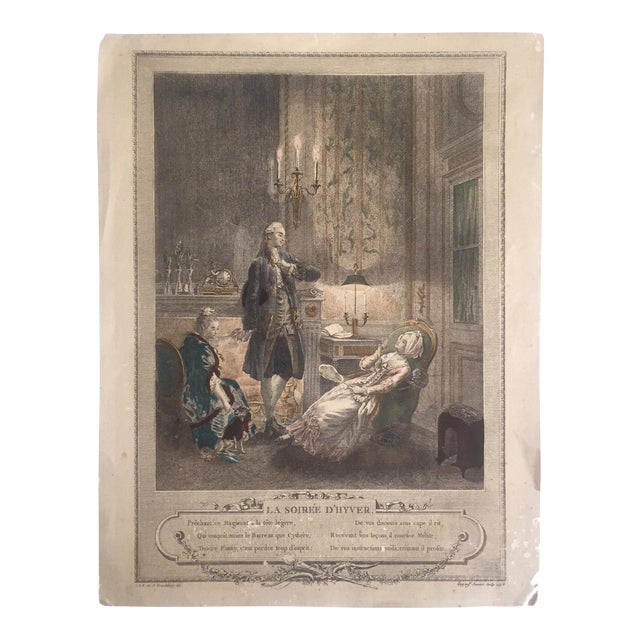 """Rare Antique 1774 Freudenberger """" La Soiree D' Hyver """" Hand Painted French Engraving Art Print For Sale"""
