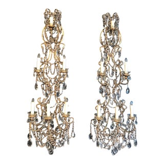 Pair Italian Beaded Sconces, C. 1950s For Sale