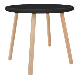 "Peewee Small Round 23.5"" Kids Table in Maple With Black Finish Accent For Sale"