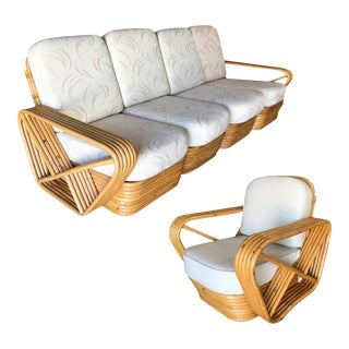 Restored Vintage Five-Strand Square Pretzel Five-Seat Sectional Sofa and Lounge Chair For Sale
