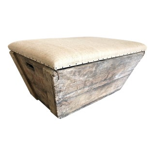 Antique European Champagne Crate Ottoman For Sale