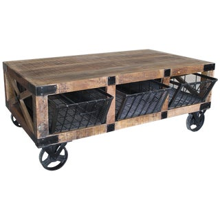 Reclaimed Wood Cart Coffee Table