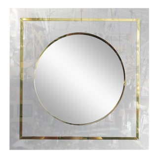 Mirror in Brass and Chrome Port Hole Frame by C. Jeré For Sale
