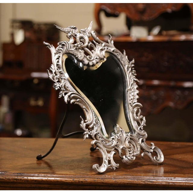French 19th Century French Louis XV Silvered Bronze Free Standing Vanity Table Mirror For Sale - Image 3 of 10