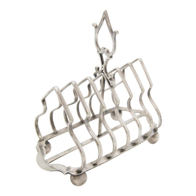 Antique English Silver Plate Toast Rack For Sale