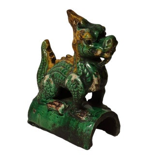 20th Century Chinese Glazed Ceramic Dragon Roof Tile For Sale