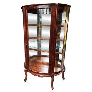 Antique Victorian Quartersawn Tiger Oak Bowed Curved China Cabinet For Sale